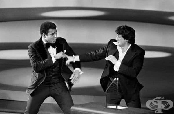 Али и Сталоун се преструват, че се борят срещу Оскарите, 1976 г.