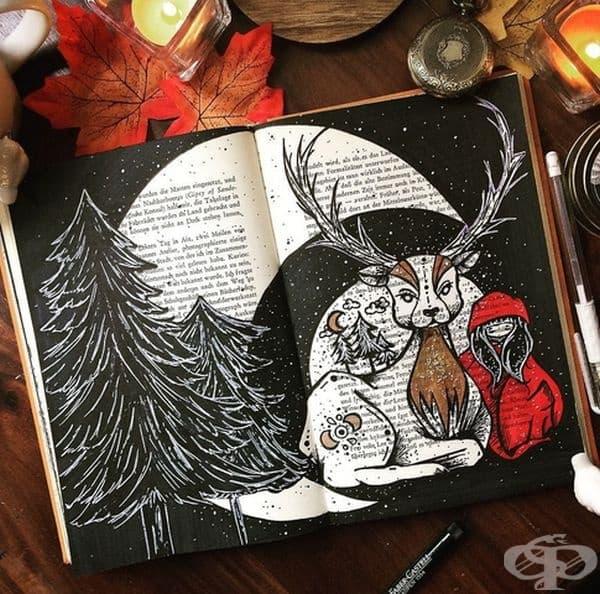 Художник от Германия рисува вълшебни илюстрации върху текста на стари книги