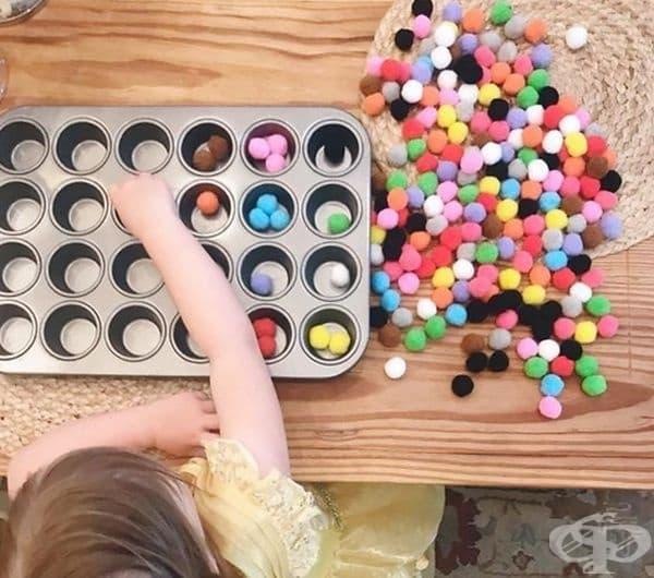Измислете интересна игра, в която трябва да се разпределят топките по цвят.
