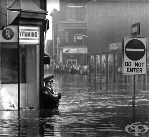 Полицейски служител охранява аптека в прииждащи до кръста води, 1974.