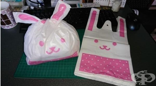 Найлонови торбички, които приличат на зайци.