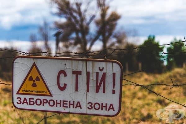 Предупредителна табела върху оградата на Забранената зона около Чернобил.