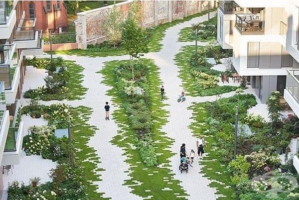 Интересен дизайн на градина.
