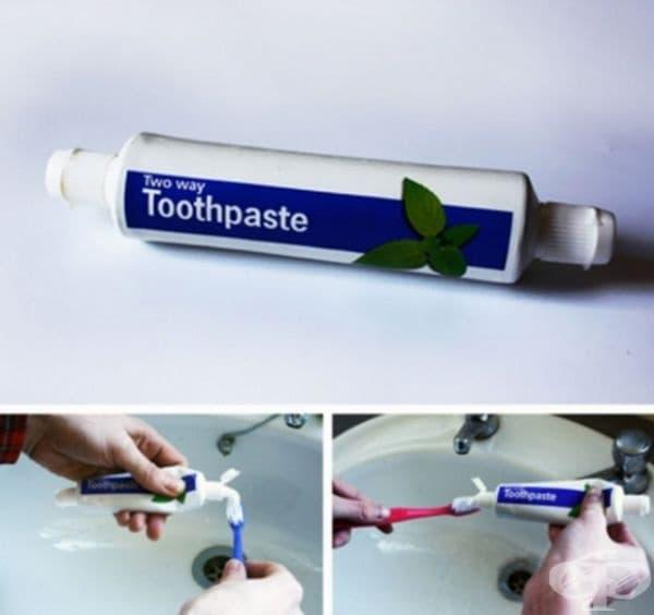 Паста за зъби с два отвора.