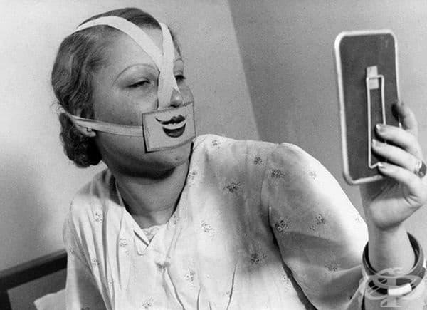 Жена, носеща специална маска за борба с депресията, Будапеща, 1937 г.