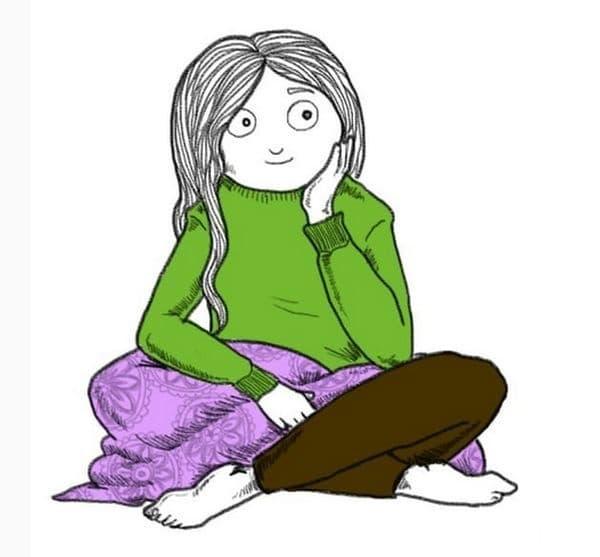 С кръстосани крака. Седенето с кръстосани крака на пода означава, че сте безгрижни и отворени към нови идеи. Гъвкавостта, която притежавате, за да седне по този начин, показва вашата емоционална адаптивност.