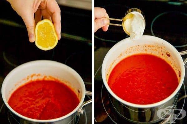 Сос за паста. Добавете лимонов сок, каперси, маслини или оцет към соса. За по-гладка текстура използвайте сметана.