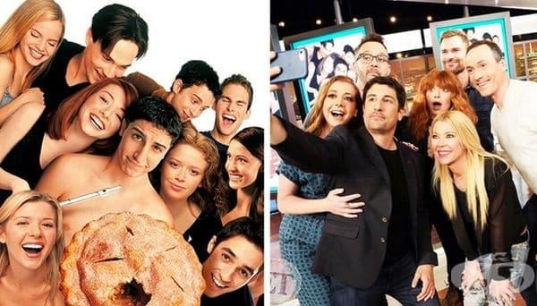 """""""Американски пай"""", 1999 и 2019 г. Тази година се навършват 20 години от заснемането на филма. В чест на събитието Entertainment Tonight събра всички актьори от поредицата."""