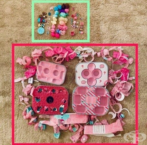 В горната част - играчките, в долната част - опаковките от тях.