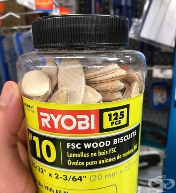 Дървени елементи, изглеждащи като бисквитки.