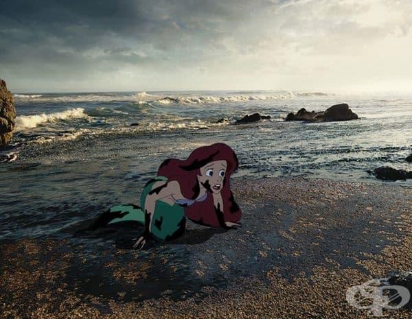 Ариел се опитва да оцелее, поради замърсяването на морето.