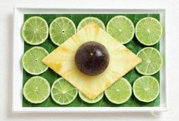 Бразилия: лист от бананова палма, лайм, ананас, маракуя