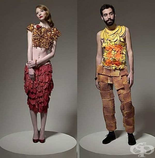 1. Стилна пола от парчета месо и блуза от гъби. 2. Панталони, изработени от вафли и потник от бананови кори.