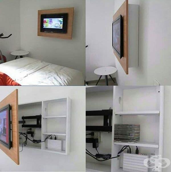 Скрийте кабелите. С подобен шкаф може да скриете всички кабели за по-добра естетика. В него може да се съхранят дискове, дистанционни и други вещи.