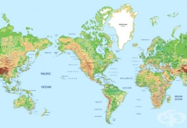 САЩ. Тази карта виси в училищата в Канада и САЩ. Логиката е проста: целият свят трябва да бъде центриран около американския континент. Любопитно е, че с такова споразумение Русия, Китай и Индия се възприемат като обкръжаващи континенти от запада и изтока.