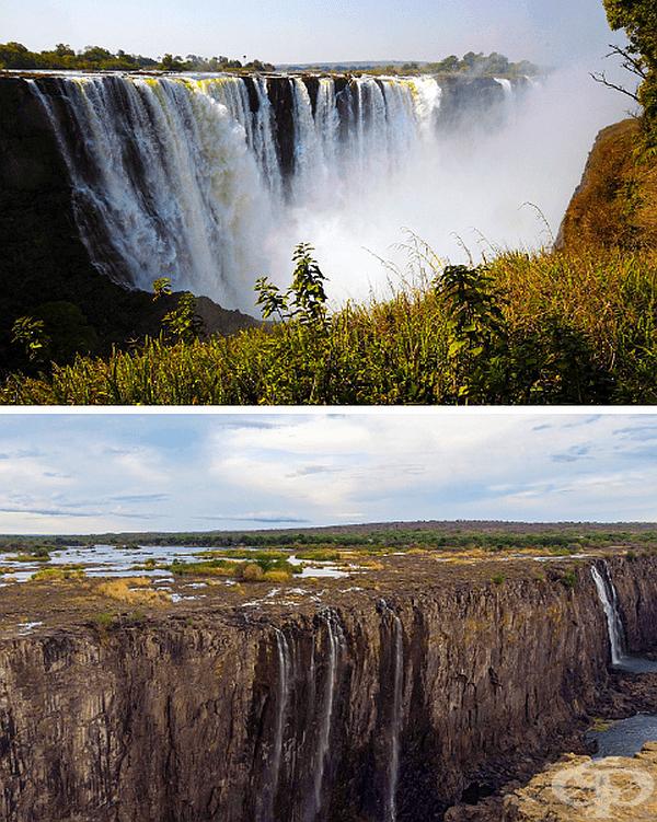 Един от най-внушителните водопади в света - Виктория - се превърна в малки потоци.