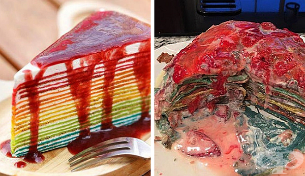 Тортата вдясно с цветовете на дъга, не изглежда съвсем като тортата вляво.
