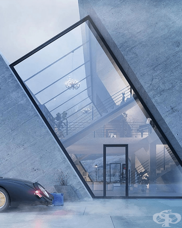 """""""Trihouse"""" се състои от три бетонни части, разделени със стъклените участъци. Самата сграда прилича на триъгълник по форма, а площта й е 560 кв. м."""