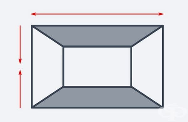 Цветен под и таван с наситени цветове ще създаде впечатление за широко пространство в средата. Таванът обаче ще изглежда по-нисък.