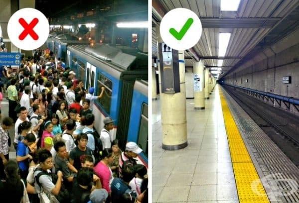 Мит 2. Пренаселено е и хората винаги се блъскат. В действителност метрото в Токио не е многолюдно, освен в час пик. Но хората в обществения транспорт не са повече от редица големи градове по същото време.