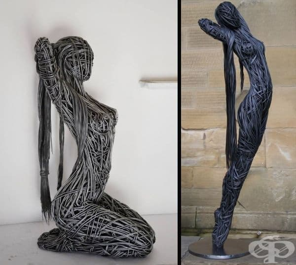 Ричард Стейнторп създава скулптури от метална тел в продължение на 20 години. Те представляват женски образи с гладки и красиви очертания. Според Ричард, работата с жици е същата като решаването на пъзел. Тя е толкова интересна.