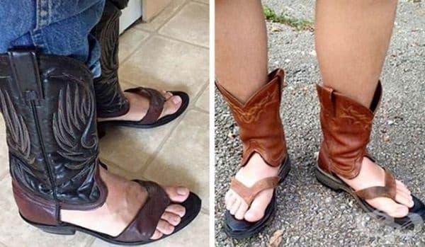 Обувки между ботуш и джапанки.