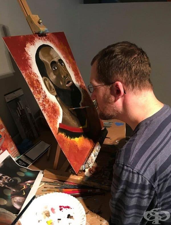 """""""Това е моят приятел Алекс. Той не може да използва ръцете си, затова рисува с устата си. Картините му са невероятни."""""""