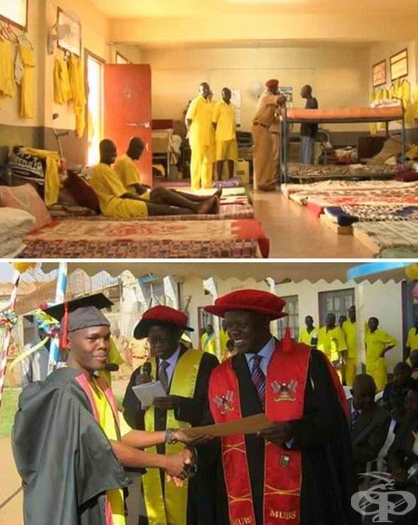 Затвор Лузира, Кампала, Уганда. Там затворниците получават повече отговорности в сравнение с други затвори - отговарят за отглеждане, подготовка и прибиране на храна, различни обучения и занаяти.Охраната в Лузира е около 1:35 души.