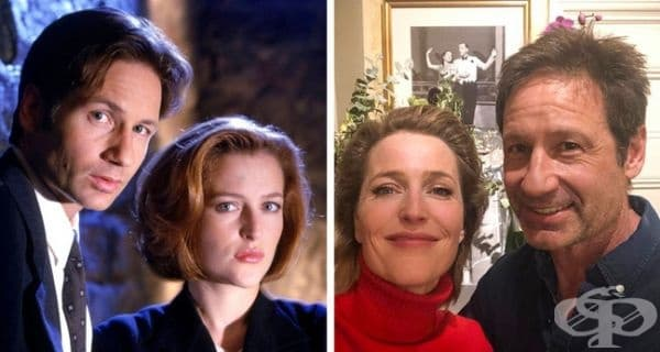 """""""Досиетата Х"""", 1997 и 2019 г. Сериалът стартира през 1993 г. Дейвид Духовни тогава е на 32, а Джилиан Андерсън на 24. През 2018 г. се излъчи 11-и сезон, така че Мълдър и Скали отново се събраха."""