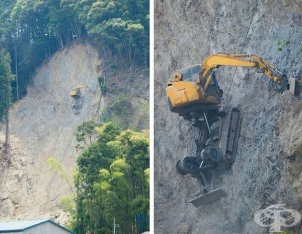 Огромен багер копае в планина.