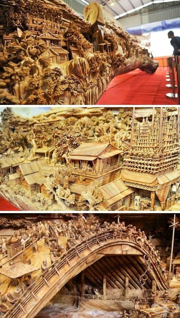 Това е най-дългата дървена скулптура, записана в рекордите на Гинес. Тя е създадена от китайския артист Жен Чунхуи, който преобразува дънера на изсъхнало дърво в произведение на изкуството с дължина от 12 метра, височина - 3 метра и широчина - 2,5 метра.