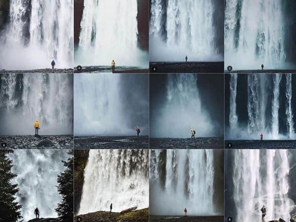 Снимка на човек на фона на водопад.