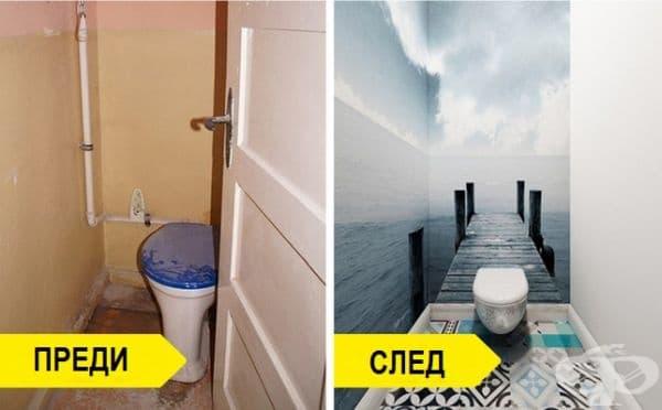 Тази тоалетна не изглеждаше добре - малка, тясна и мръсна. Дизайнерите я преобразиха, използвайки няколко трика: сиво-сини плочки с орнамент, стена в светъл цвят и една с тапет, създаващ безкрайна перспектива.