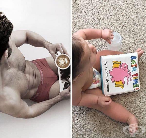 Майка съпоставя снимки на своя брат модел и детето си, а резултатът е очарователен