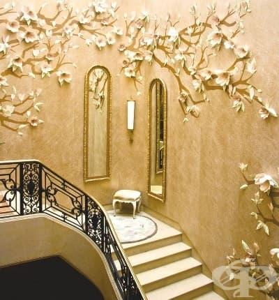 Поставете няколко хартиени цветя на стената, за да превърнете къщата в замък.