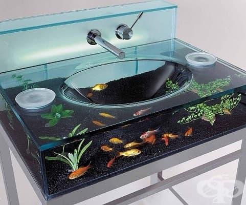 Наблюдавайте рибата, която плува наоколо, докато миете ръцете си.