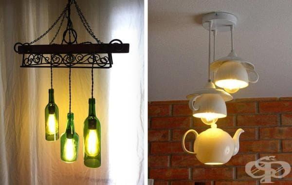 Оживете в стаята си с креативни полилеи, направени с чаши и бутилки.