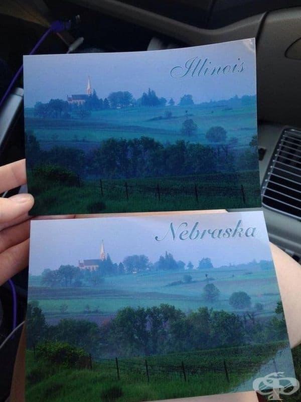 """""""Мой приятел пътува из цялата страна. Той откри тези две картички и не беше впечатлен."""""""