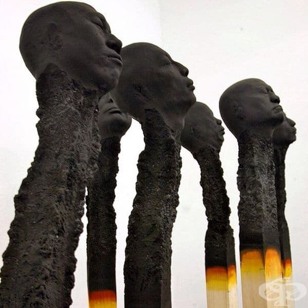 Волфганг Стилър - скулптури кибритени клечки, 2016 г.