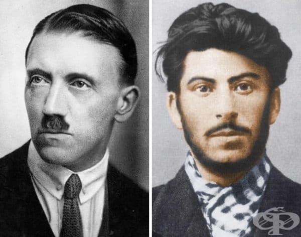 Тук може да видите 34-годишният Хитлер и 24-годишният Сталин. Първоначално Хитлер, подобно на Сталин, е имал обемни мустаци. Казват, че те прикриват грозния белег на устата му. В последствие Хитлер трябва да ги премахне, защото не може да носи противогаз
