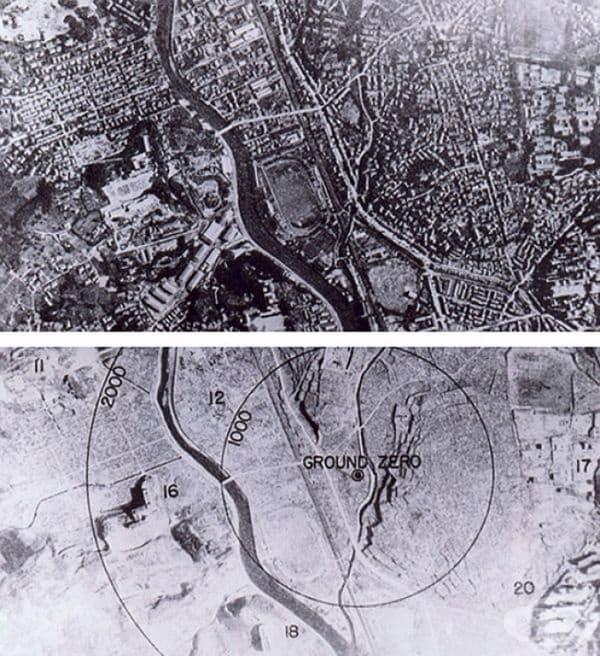 Нагасаки, преди и след експлозията на атомна бомба, 1945.