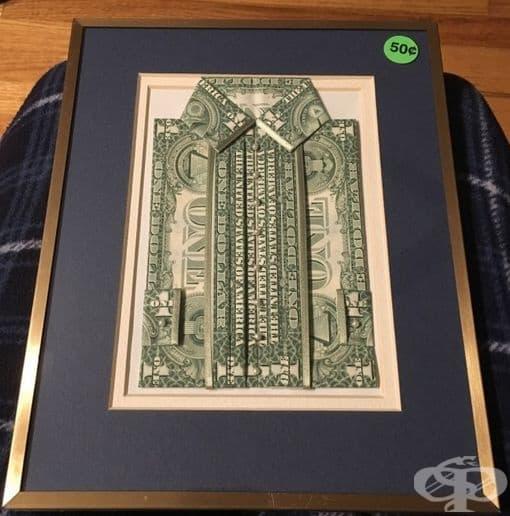 fece04fa8ea Това произведение на изкуството е направено от 6 неизрязани доларови  банкноти, а струва 50 цента