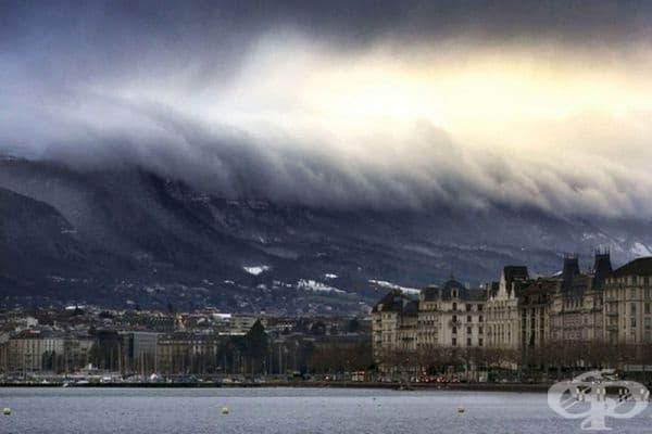 Снимка на цунами в Женева, Швейцария (фотограф: Alex Teuscher).