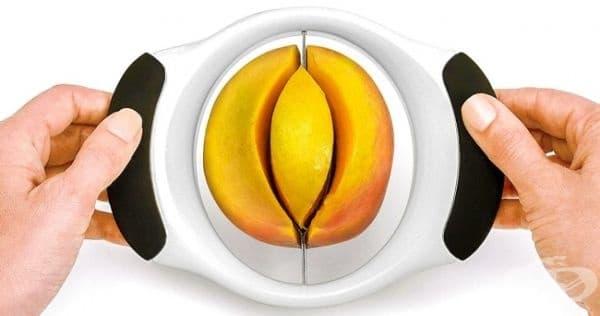 Уред за белене, рязане и отстраняване на сърцевината на мангото.
