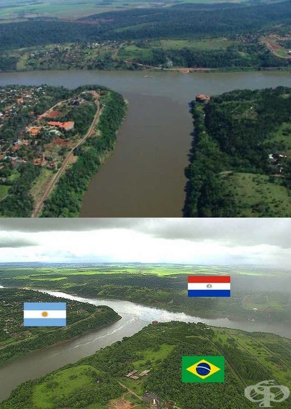 Аржентина (вляво), Бразилия (вдясно) и Парагвай (в средата).