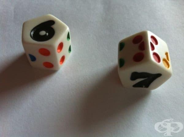 Сумата на числата от противоположните страни на заровете се равнява на 7.