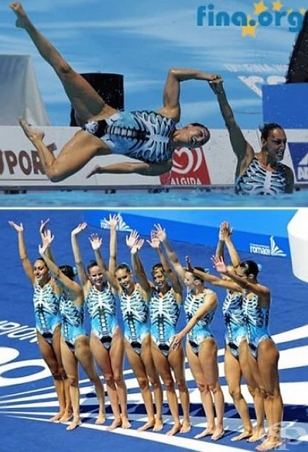 Испанският отбор по синхронно плуване.