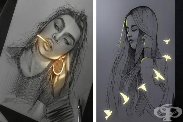 Художник създава светещи рисунки с хипнотизиращ ефект - изображение