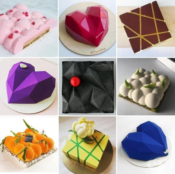 Колекция от торти, изработени от различни готвачи, използващи оригиналните форми на Динара Каско.