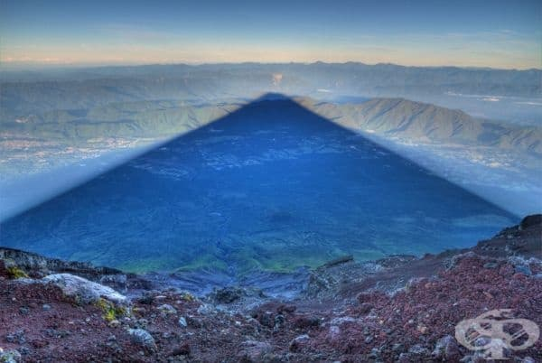 25-километрова сянка на планината Фуджи.